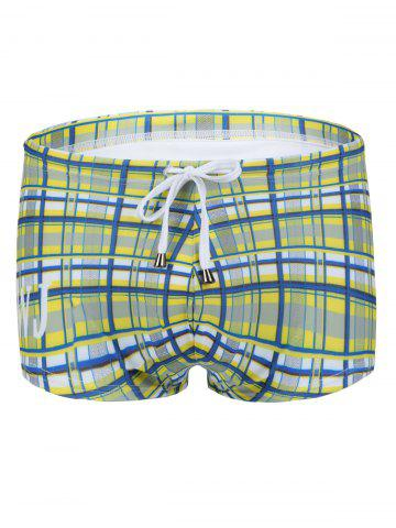 Fashion Slimming Plaid Printed Lace Up Swimwear For Men