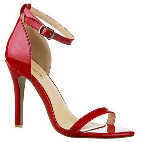 Stylish Patent Leather and Ankle Strap Design Sandals For Women