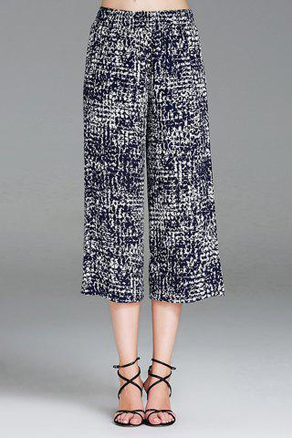 Chic Printed Elastic Waist Cropped Wide Leg Pants