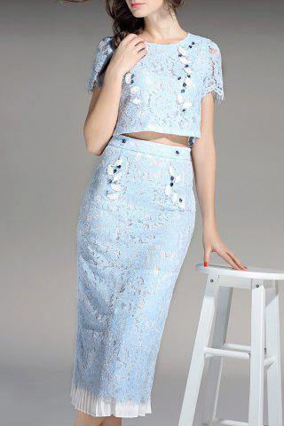 Chic Crop Top and Lace Skirt Twinset