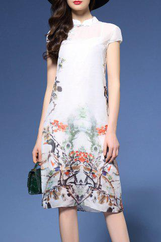 Sale Ink Painting Qipao Dress in White