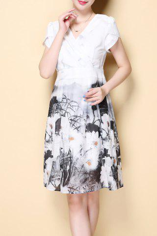 Store Petal Sleeve Wrap Front Print Dress