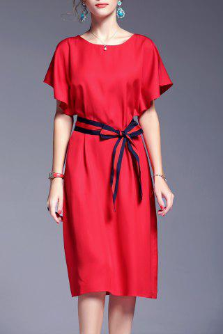 Outfit Belted Bowknot Hit Color Dress