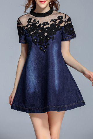 Online Mock Neck Embroidered Mesh Yoke Denim Dress