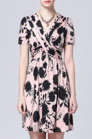 Cheap Twist Front Mini Floral Dress