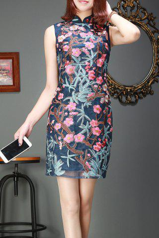 Cheap Flower Embroidery Organza Cheongsam Dress