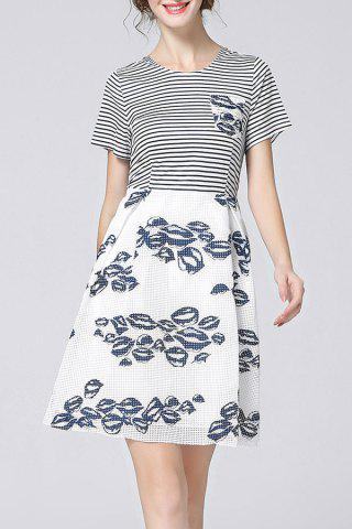 Sale Striped Spliced Hollow Out Print Dress