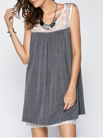 Sale Scoop Neck Sleeveless Lace Splice Pleated Babydoll Dress GRAY 5XL