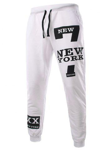 New Slimming Trendy Lace-Up Letter Number Print Beam Feet Polyester Men's Sweatpants - M WHITE Mobile