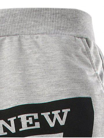 Store Slimming Trendy Lace-Up Letter Number Print Beam Feet Polyester Men's Sweatpants - M WHITE Mobile