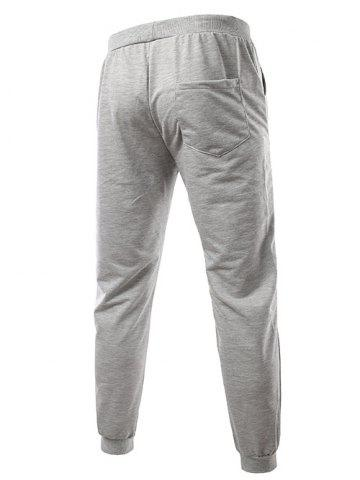Best Slimming Trendy Lace-Up Letter Number Print Beam Feet Polyester Men's Sweatpants - M LIGHT GRAY Mobile