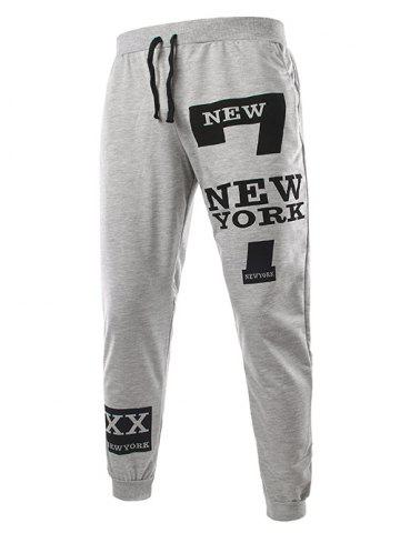 Hot Slimming Trendy Lace-Up Letter Number Print Beam Feet Polyester Men's Sweatpants - M LIGHT GRAY Mobile