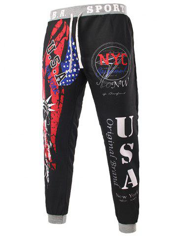 Store Beam Feet American Flag Statue of Liberty Letters Print Hit Color Lace-Up Men's Loose Fit Sweatpants - XL BLACK Mobile
