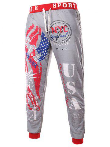 Cheap Beam Feet American Flag Statue of Liberty Letters Print Hit Color Lace-Up Men's Loose Fit Sweatpants - XL LIGHT GRAY Mobile