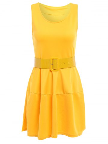 Sweet Scoop Neck Ruffles Candy Color Sleeveless Women's Dress - Yellow - One Size