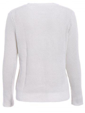 Chic Basic Round Collar Long Sleeve Solid Color All-Match Women's Knitwear - L OFF-WHITE Mobile