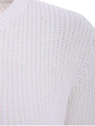 Latest Basic Round Collar Long Sleeve Solid Color All-Match Women's Knitwear - L OFF-WHITE Mobile