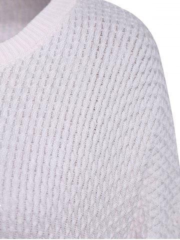 Fancy Simple Style 3/4 Sleeve Scoop Collar Solid Color Cable-Knit Women's Sweater - ONE SIZE(FIT SIZE XS TO M) WHITE Mobile