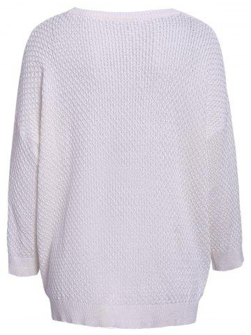 Affordable Simple Style 3/4 Sleeve Scoop Collar Solid Color Cable-Knit Women's Sweater - ONE SIZE(FIT SIZE XS TO M) WHITE Mobile