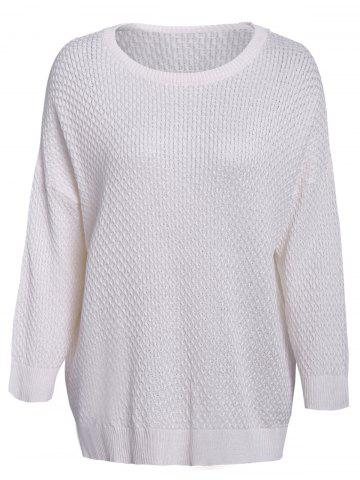 Latest Simple Style 3/4 Sleeve Scoop Collar Solid Color Cable-Knit Women's Sweater - ONE SIZE(FIT SIZE XS TO M) WHITE Mobile