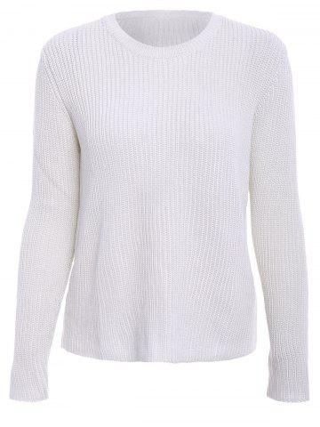 Fancy Basic Round Collar Long Sleeve Solid Color All-Match Women's Knitwear - M OFF-WHITE Mobile