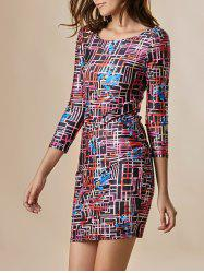 Sexy Jewel Neck 3/4 Sleeve Print Dress For Women - AS THE PICTURE