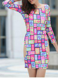 Cut Out Bodycon Colorful Club Dress