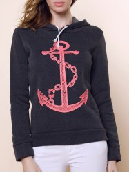 Casual Hooded Anchor Print Long Sleeve Hoodie For Women