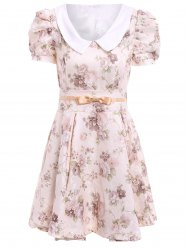 Vintage Peter Pan Collar Floral Print Bow Puff Sleeve Pleated Dress For Women -