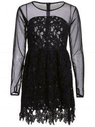 Stylish Round Collar Lace Floral Embroidery Long Sleeve Women's Dress - BLACK