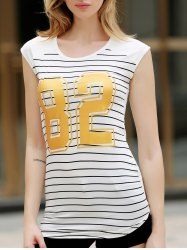 Stylish Short Sleeve Striped Gilding Mini Dress For Women
