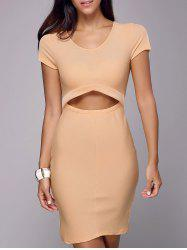 Cutout Sheath Knee Length Dress - LIGHT KHAKI