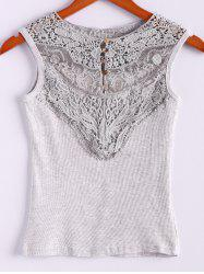 Lace Splicing Cotton Blend Scoop Neck Sleeveless Sweet Style Women's Vest