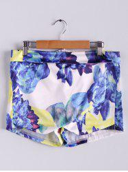 Stylish Mid-Waisted Zippered Bodycon Printed Culottes Shorts - WHITE AND PURPLE