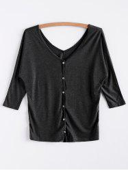 V-Neck Three Quarter Sleeve Gray Women's Cardigan -