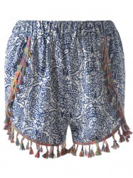 Casual Slimming Elastic waist Printing Tassel Ethnic Style Shorts For Women -