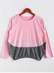 Scoop Neck Color Matching T-shirt de manches longues femmes - ROSE PÂLE M