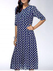 Stylish Round Neck Half Sleeve Printed Chiffon Dress For Women -