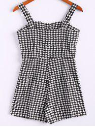 Spaghetti Strap Checked Sleeveless Fashionable Style Polyester Women's Jumpsuit - BLACK