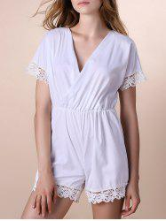 Alluring Plunging Neck Half Sleeve Lace Spliced Romper For Women