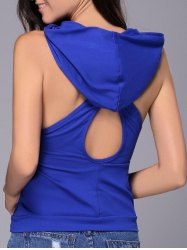 Chic Women's Hooded Sleeveless Pure Color Cut Out Tank Top