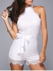 Sleeveless Tie Belt Lace High Neck Romper - WHITE