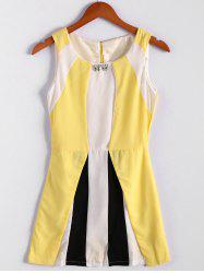 Color Block Scoop Neck Sleeveless Pleated Refreshing Style Chiffon Women's Dress (Without Belt) - YELLOW
