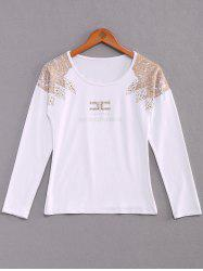 Stylish Scoop Neck Long Sleeves Rhinestoned Flocking T-Shirt For Women - WHITE S