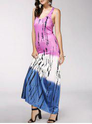 Color Block Print Maxi Racerback Tank Dress