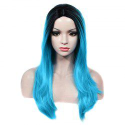 Charming Long Centre Parting Capless Straight Black Ombre Blue Synthetic Wig For Women -