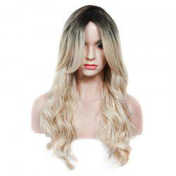 Fashion Black Ombre Light Blonde Synthetic Fluffy Wave Long Middle Part Wig For Women - COLORMIX