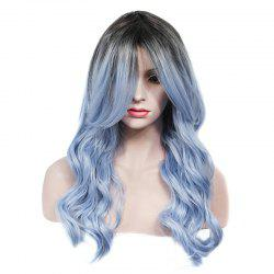 Vogue Rooted Glacier Blue Ombre Capless Fluffy Wave Long Synthetic Wig For Women - COLORMIX