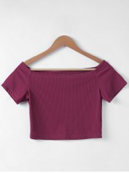 Contracted Flat Shouders Slim T-Shirt For Women - WINE RED S