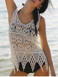 Stylish Scoop Neck Hollow Out Asymmetric Women's Crocheting Cover-Up -